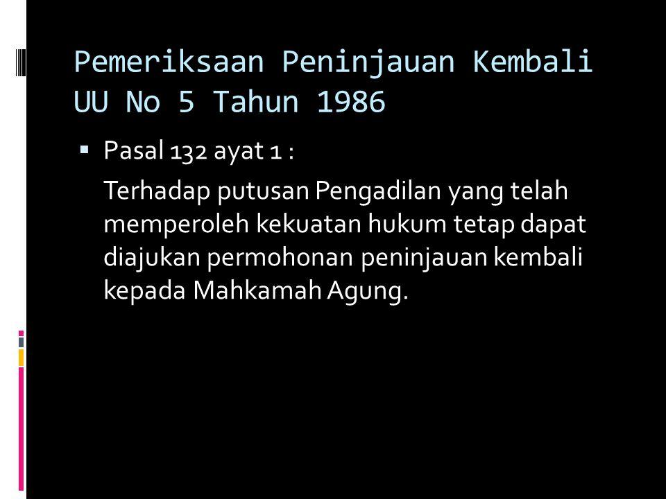 Pemeriksaan Peninjauan Kembali UU No 5 Tahun 1986