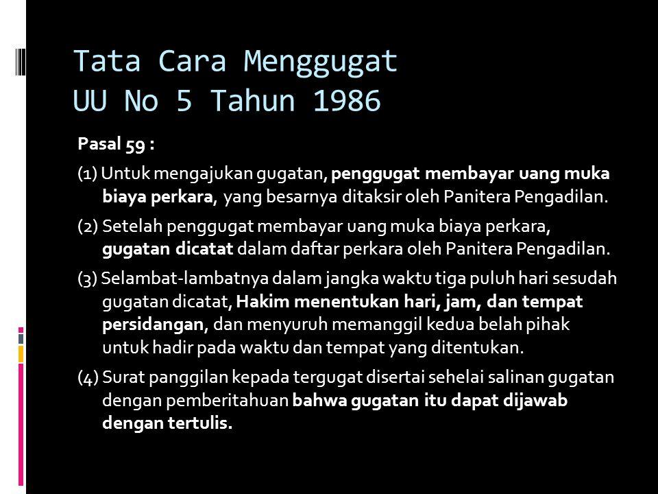 Tata Cara Menggugat UU No 5 Tahun 1986