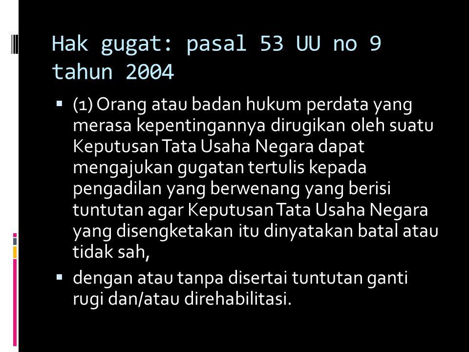 Hak gugat: pasal 53 UU no 9 tahun 2004