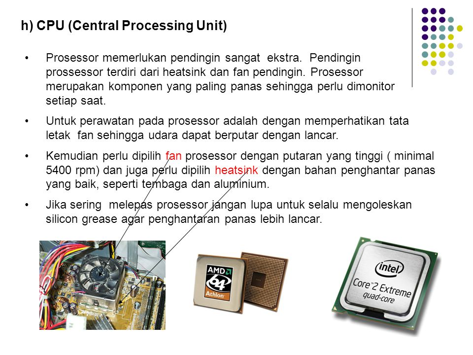 h) CPU (Central Processing Unit)