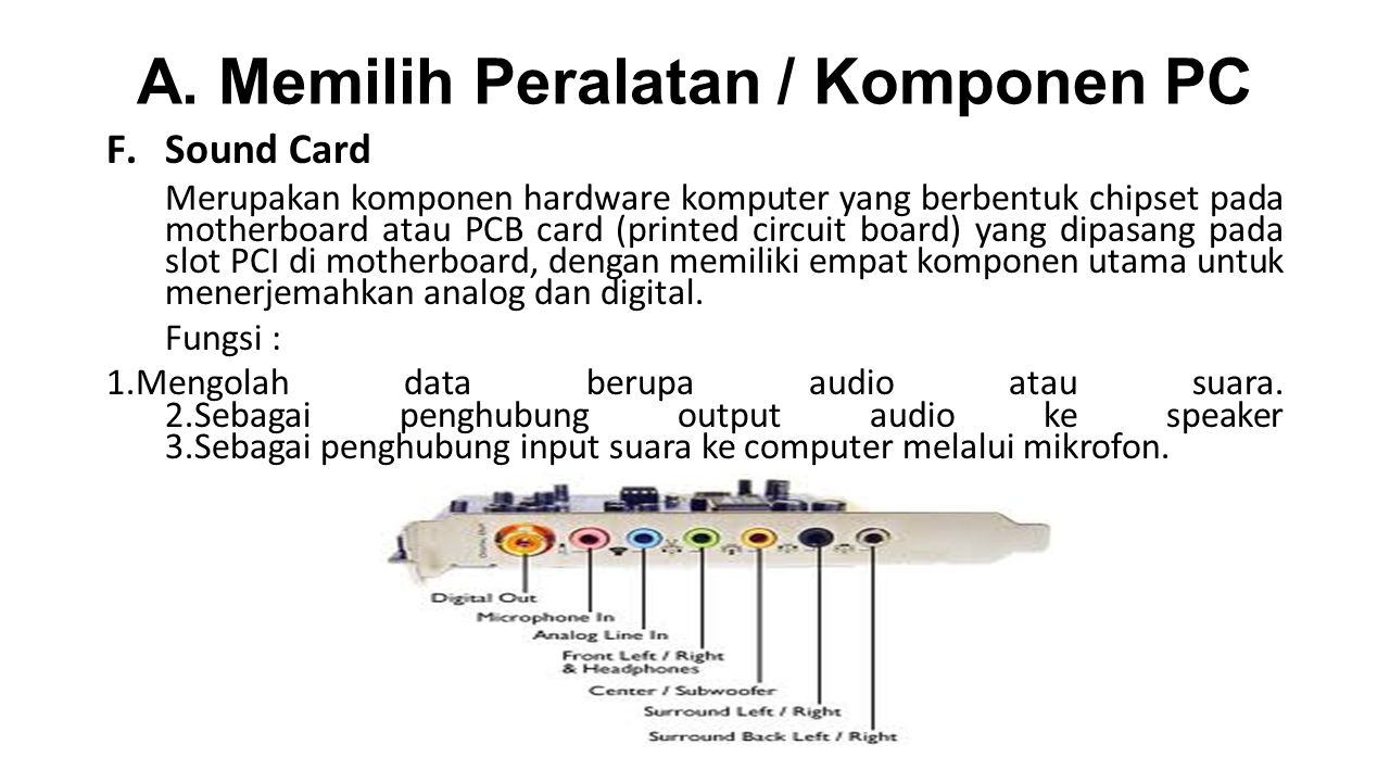A. Memilih Peralatan / Komponen PC