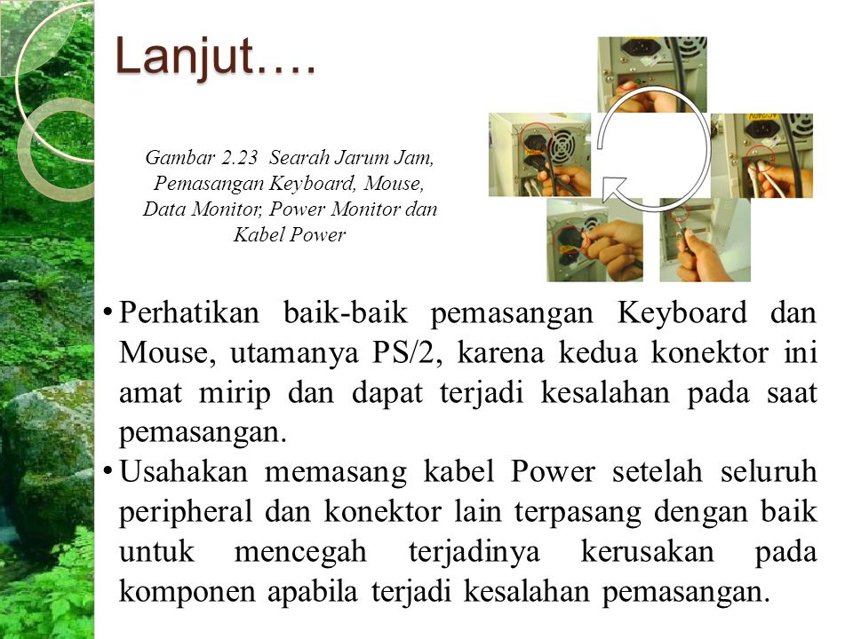 Lanjut…. Gambar 2.23 Searah Jarum Jam, Pemasangan Keyboard, Mouse, Data Monitor, Power Monitor dan Kabel Power.