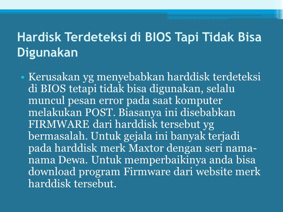 Hardisk Terdeteksi di BIOS Tapi Tidak Bisa Digunakan