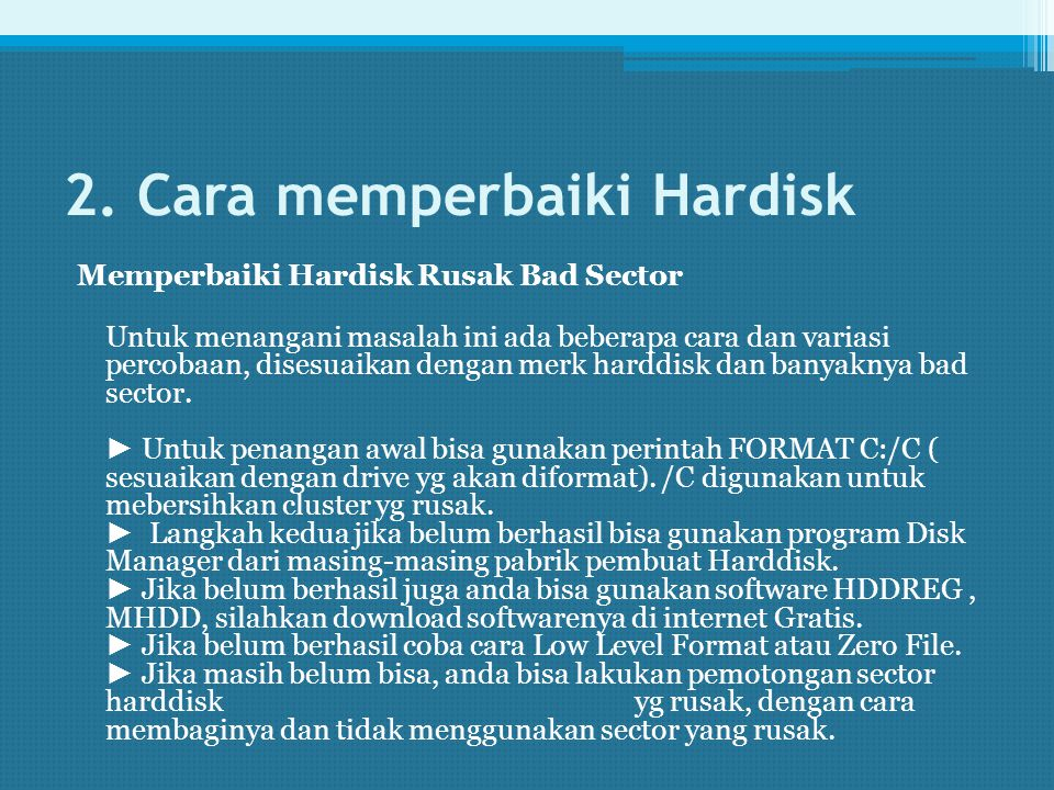 2. Cara memperbaiki Hardisk