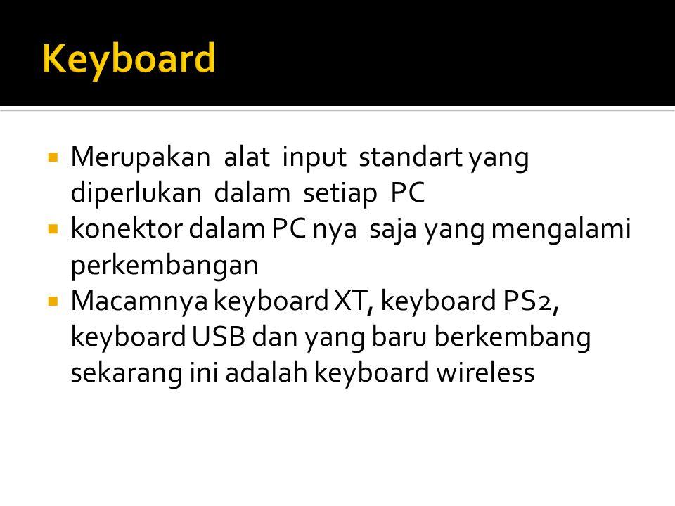 Keyboard Merupakan alat input standart yang diperlukan dalam setiap PC