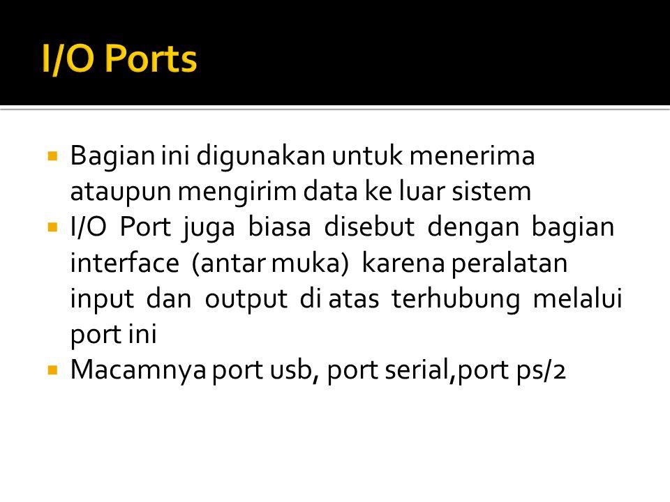 I/O Ports Bagian ini digunakan untuk menerima ataupun mengirim data ke luar sistem.