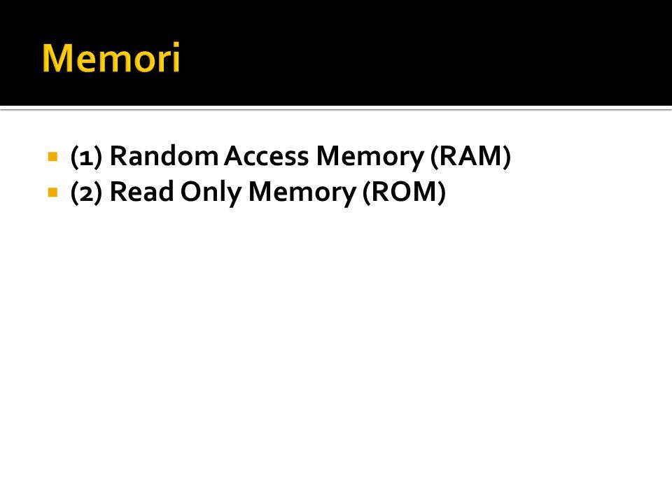 Memori (1) Random Access Memory (RAM) (2) Read Only Memory (ROM)