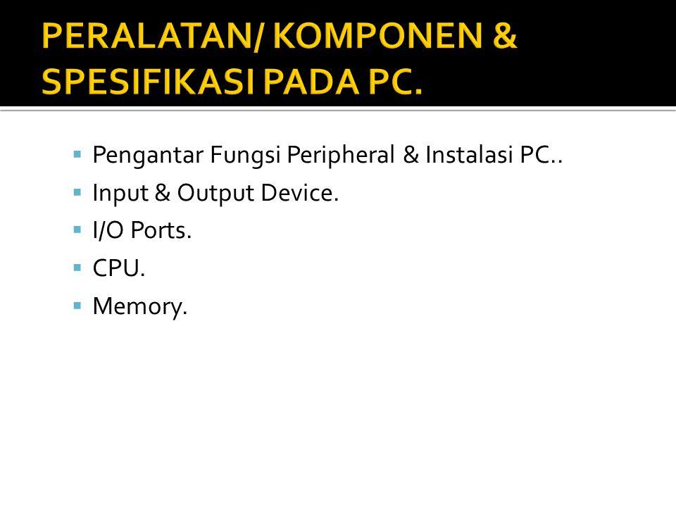 PERALATAN/ KOMPONEN & SPESIFIKASI PADA PC.
