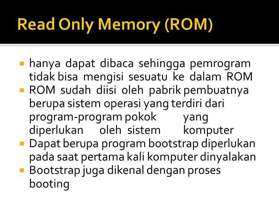 Read Only Memory (ROM) hanya dapat dibaca sehingga pemrogram tidak bisa mengisi sesuatu ke dalam ROM.
