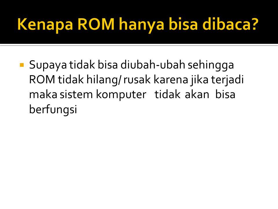 Kenapa ROM hanya bisa dibaca