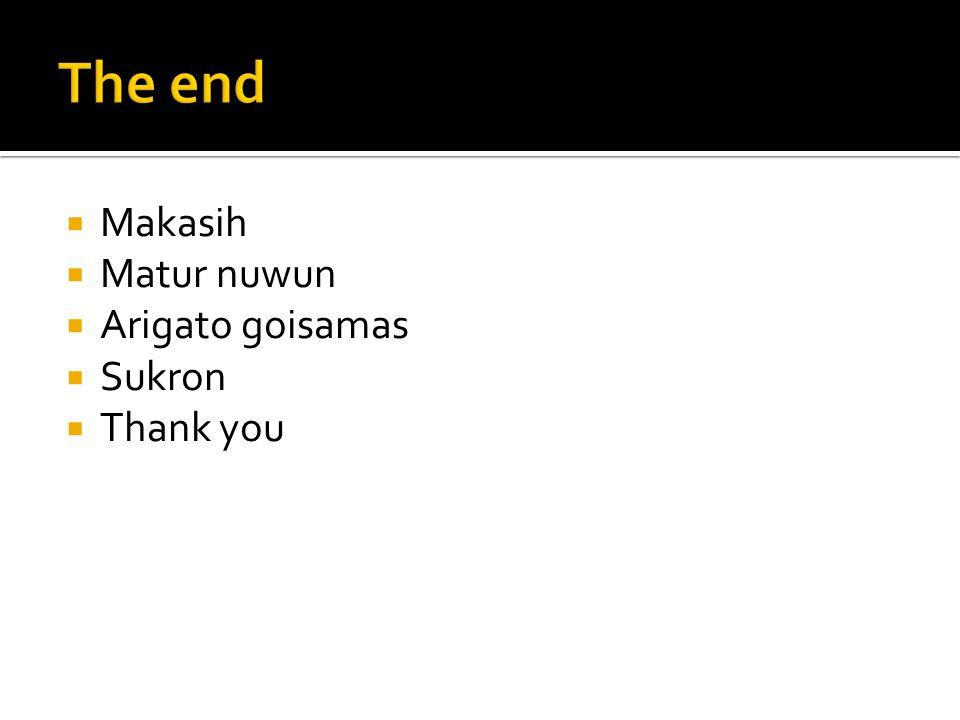 The end Makasih Matur nuwun Arigato goisamas Sukron Thank you