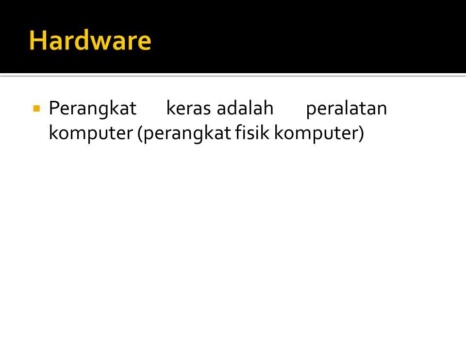 Hardware Perangkat keras adalah peralatan komputer (perangkat fisik komputer)