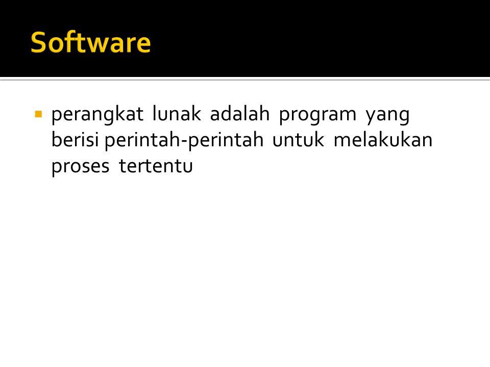 Software perangkat lunak adalah program yang berisi perintah-perintah untuk melakukan proses tertentu.