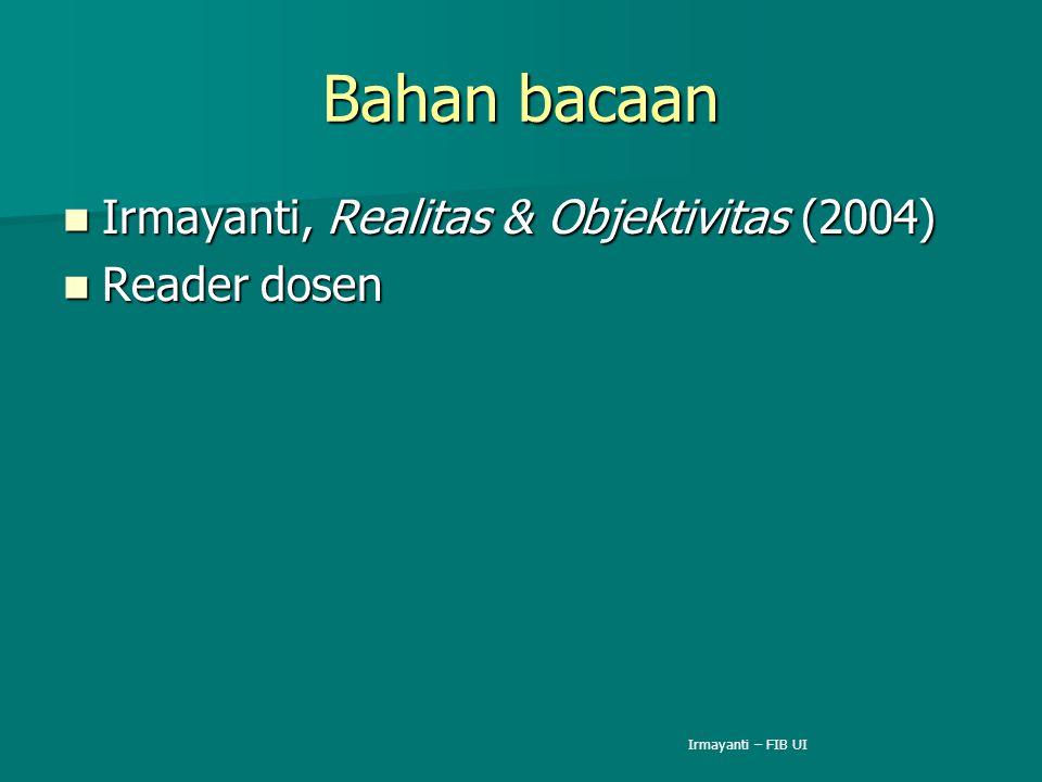 Bahan bacaan Irmayanti, Realitas & Objektivitas (2004) Reader dosen