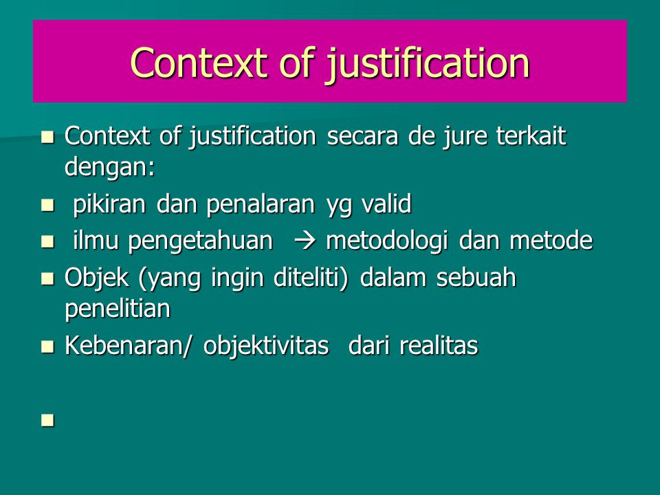 Context of justification
