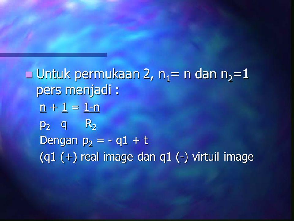 Untuk permukaan 2, n1= n dan n2=1 pers menjadi :
