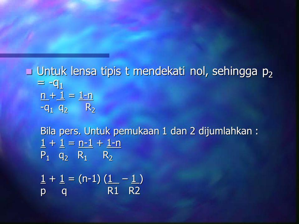 Untuk lensa tipis t mendekati nol, sehingga p2 = -q1
