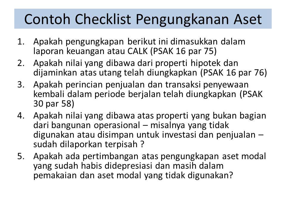 Contoh Checklist Pengungkanan Aset