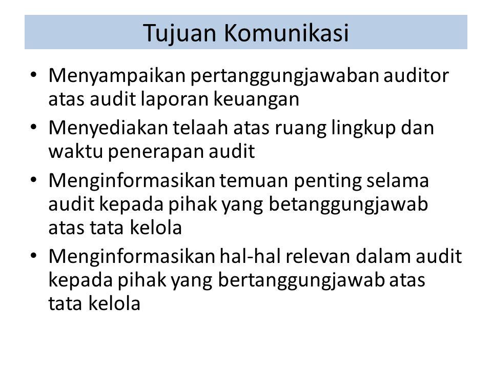 Tujuan Komunikasi Menyampaikan pertanggungjawaban auditor atas audit laporan keuangan.