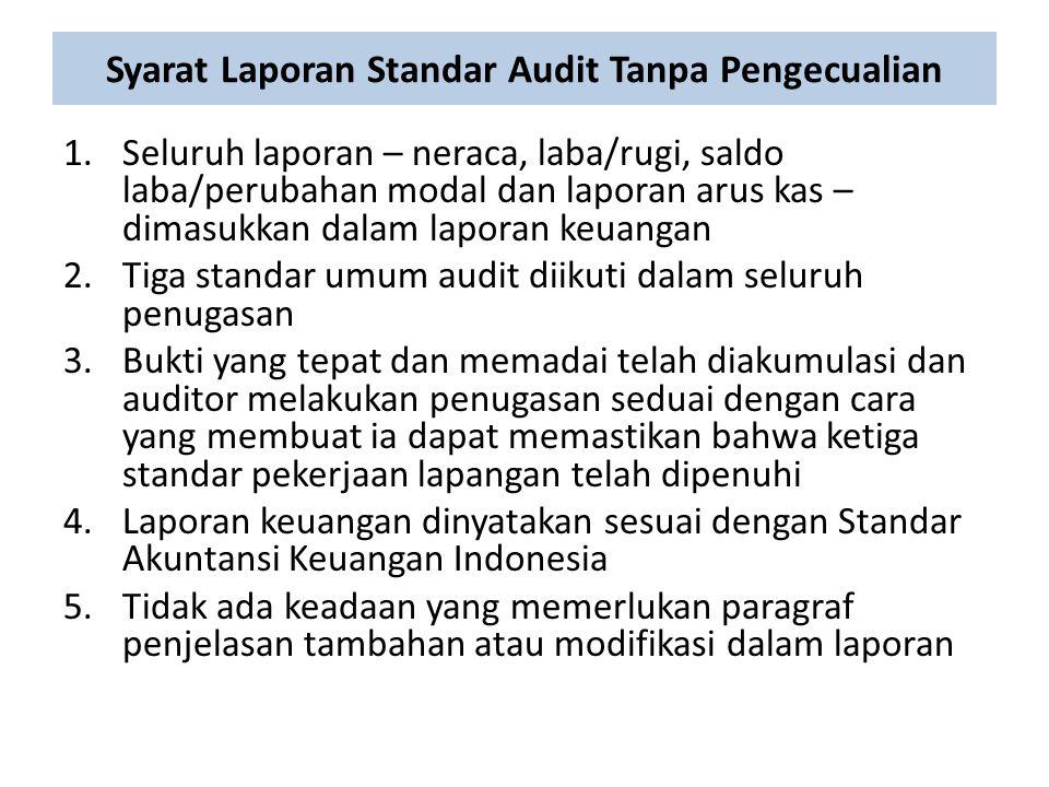 Syarat Laporan Standar Audit Tanpa Pengecualian