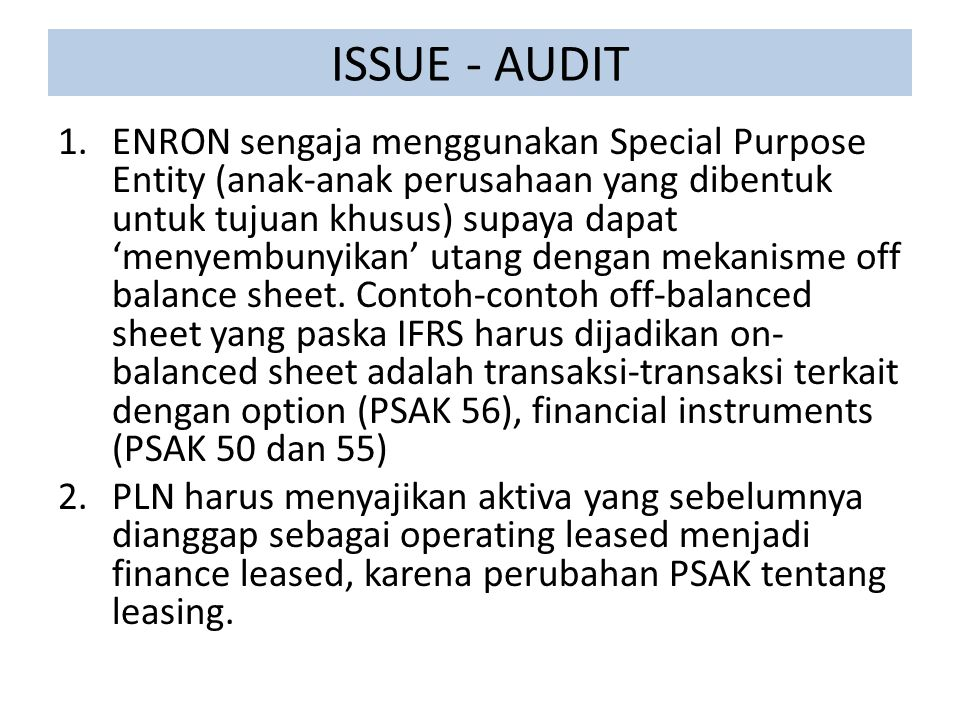 ISSUE - AUDIT