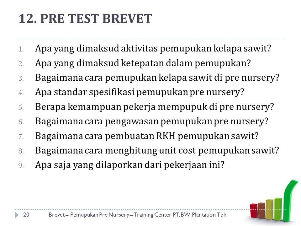 12. PRE TEST BREVET Apa yang dimaksud aktivitas pemupukan kelapa sawit Apa yang dimaksud ketepatan dalam pemupukan