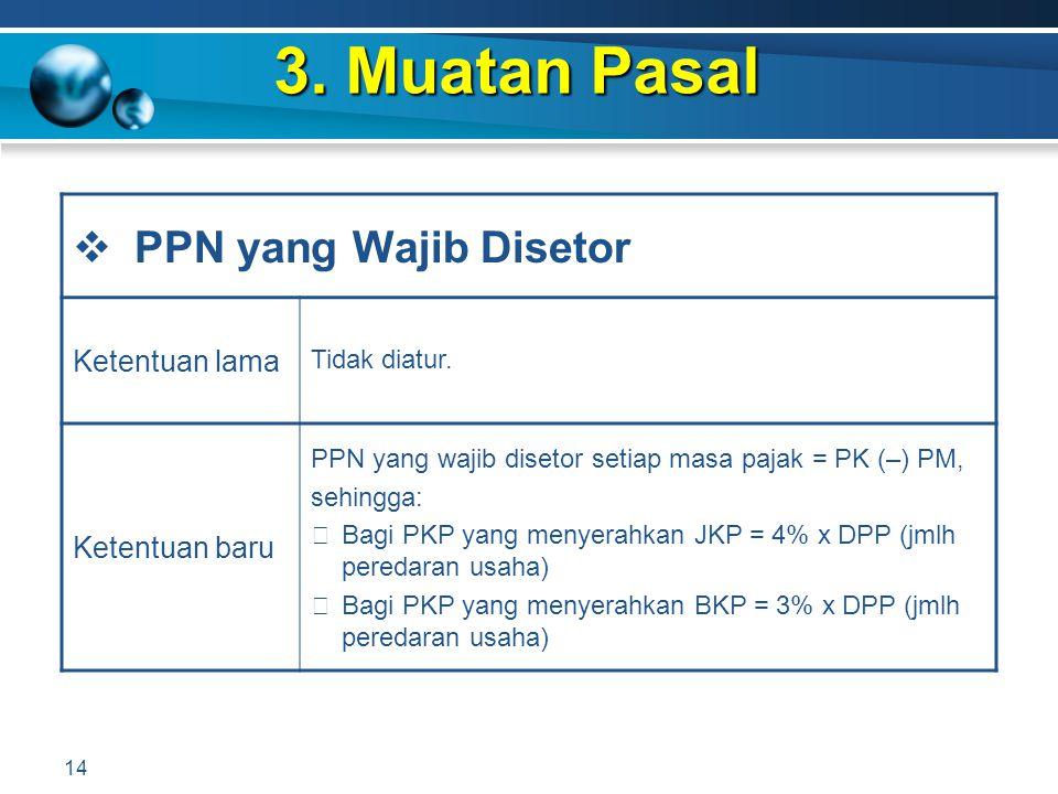 3. Muatan Pasal PPN yang Wajib Disetor Ketentuan lama Ketentuan baru