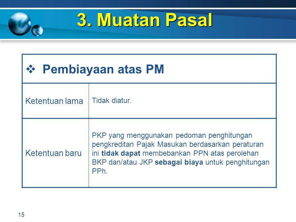 3. Muatan Pasal Pembiayaan atas PM Ketentuan lama Ketentuan baru