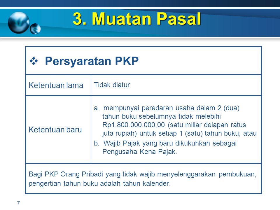 3. Muatan Pasal Persyaratan PKP Ketentuan lama Ketentuan baru