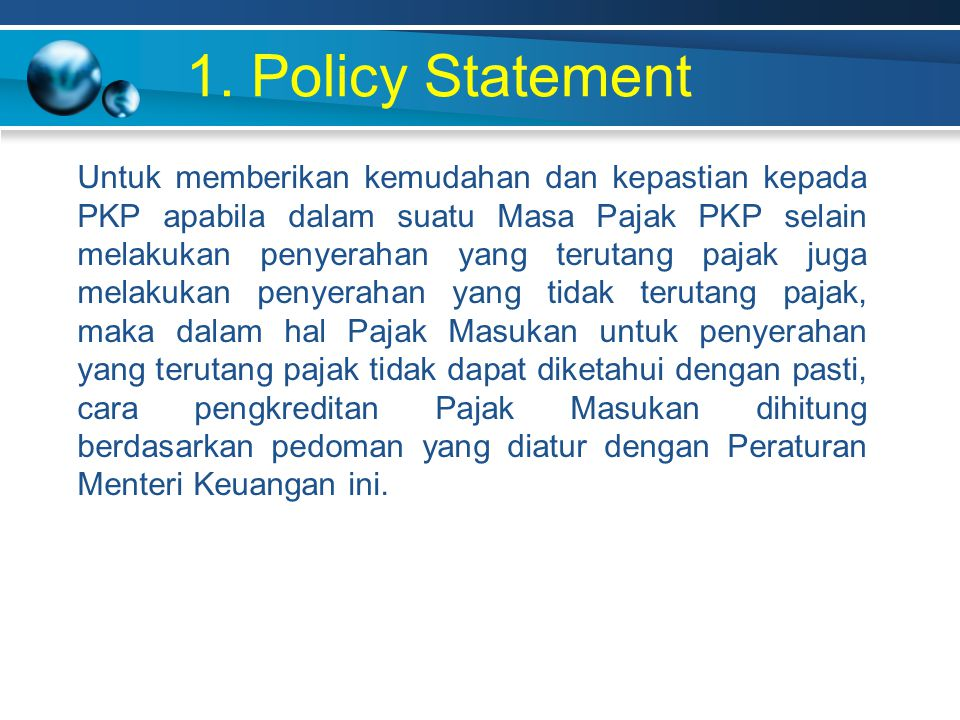 1. Policy Statement
