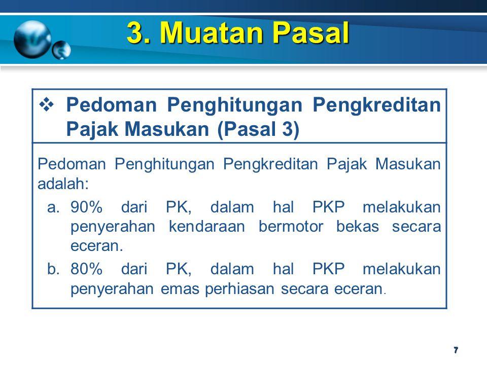 3. Muatan Pasal Pedoman Penghitungan Pengkreditan Pajak Masukan (Pasal 3) Pedoman Penghitungan Pengkreditan Pajak Masukan adalah: