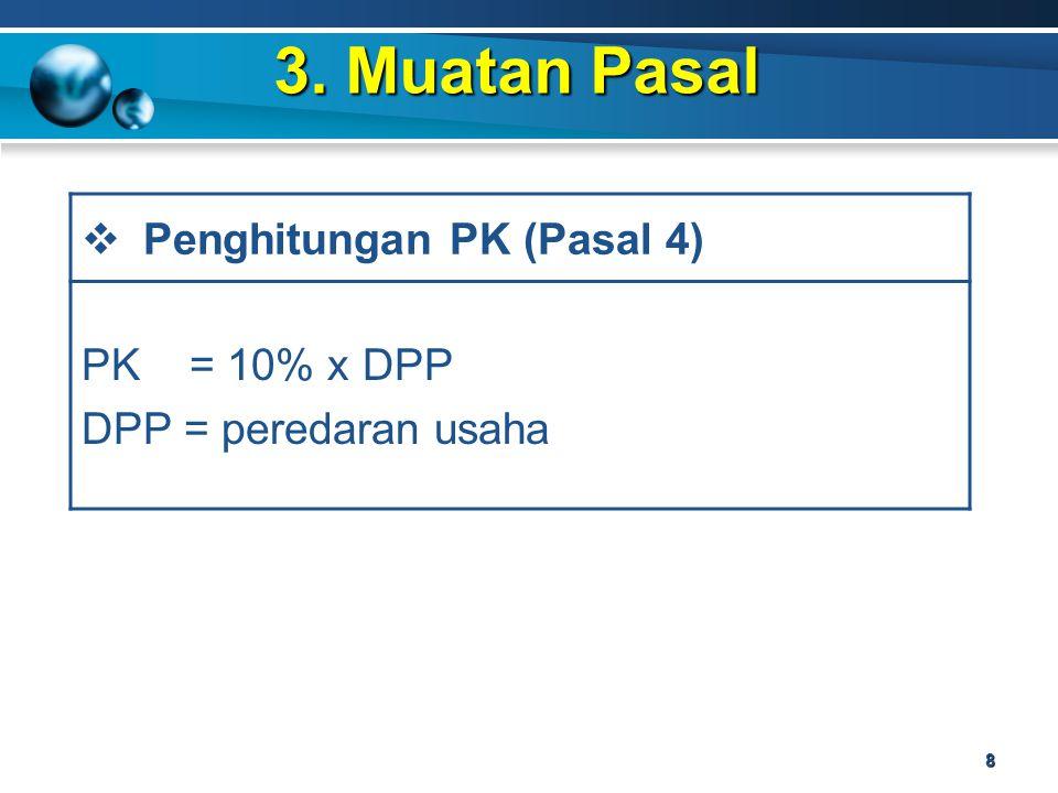 3. Muatan Pasal Penghitungan PK (Pasal 4) PK = 10% x DPP