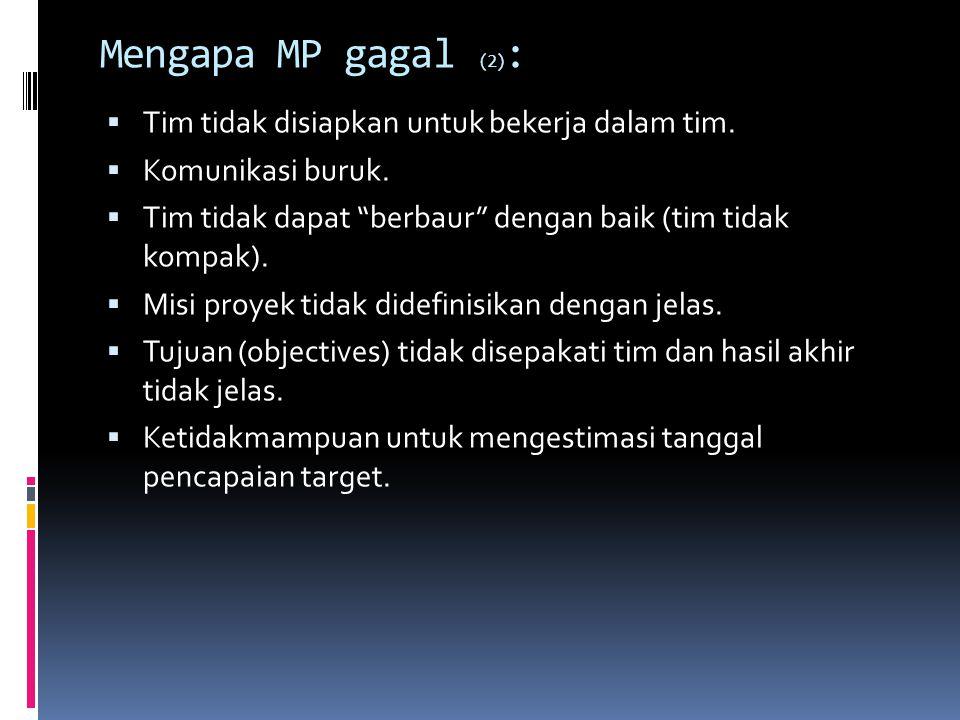 Mengapa MP gagal (2): Tim tidak disiapkan untuk bekerja dalam tim.