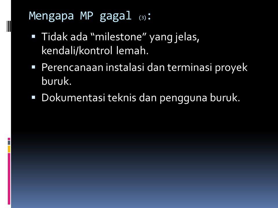 Mengapa MP gagal (3): Tidak ada milestone yang jelas, kendali/kontrol lemah. Perencanaan instalasi dan terminasi proyek buruk.