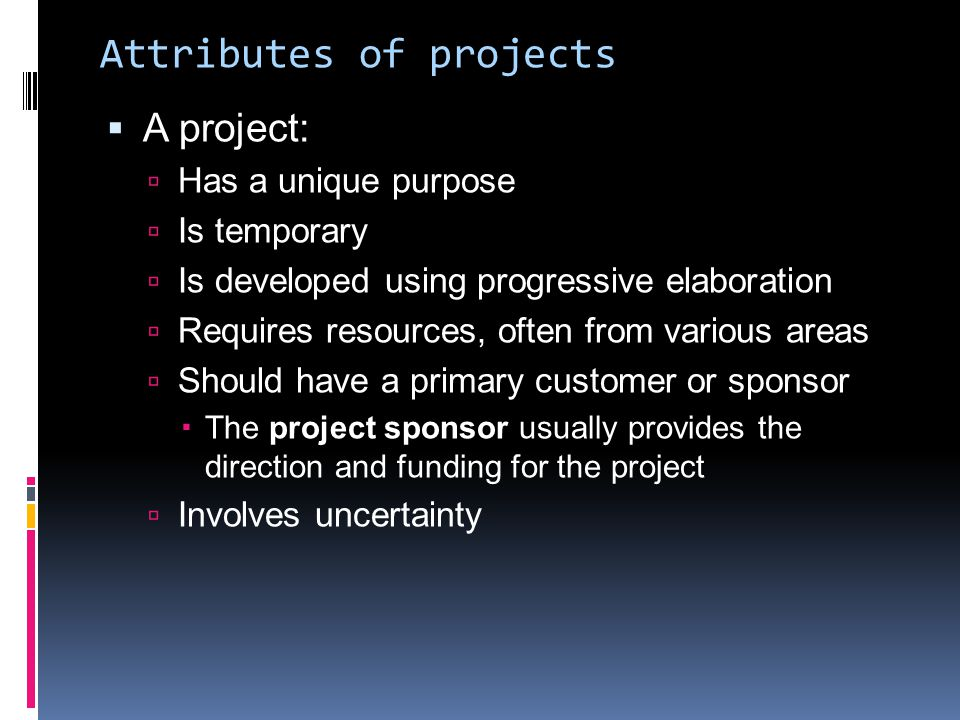 Attributes of projects