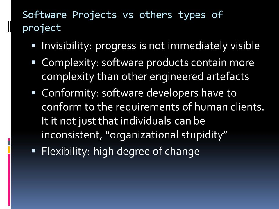 Software Projects vs others types of project