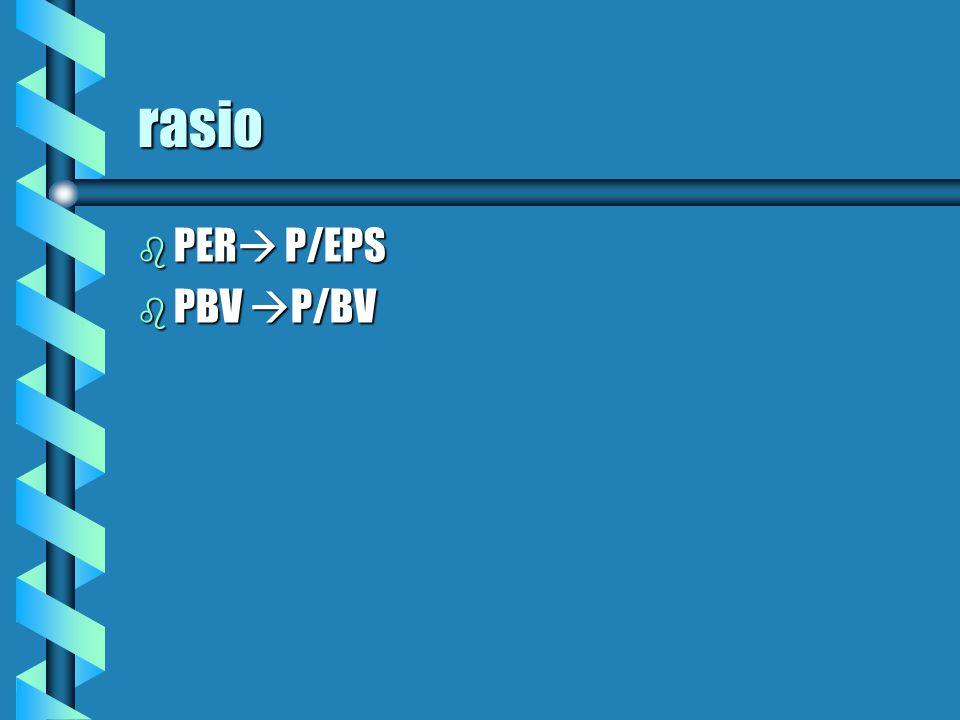 rasio PER P/EPS PBV P/BV