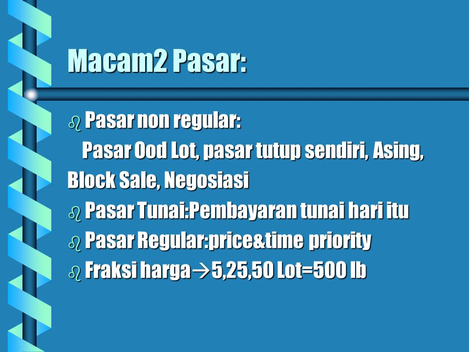 Macam2 Pasar: Pasar non regular: