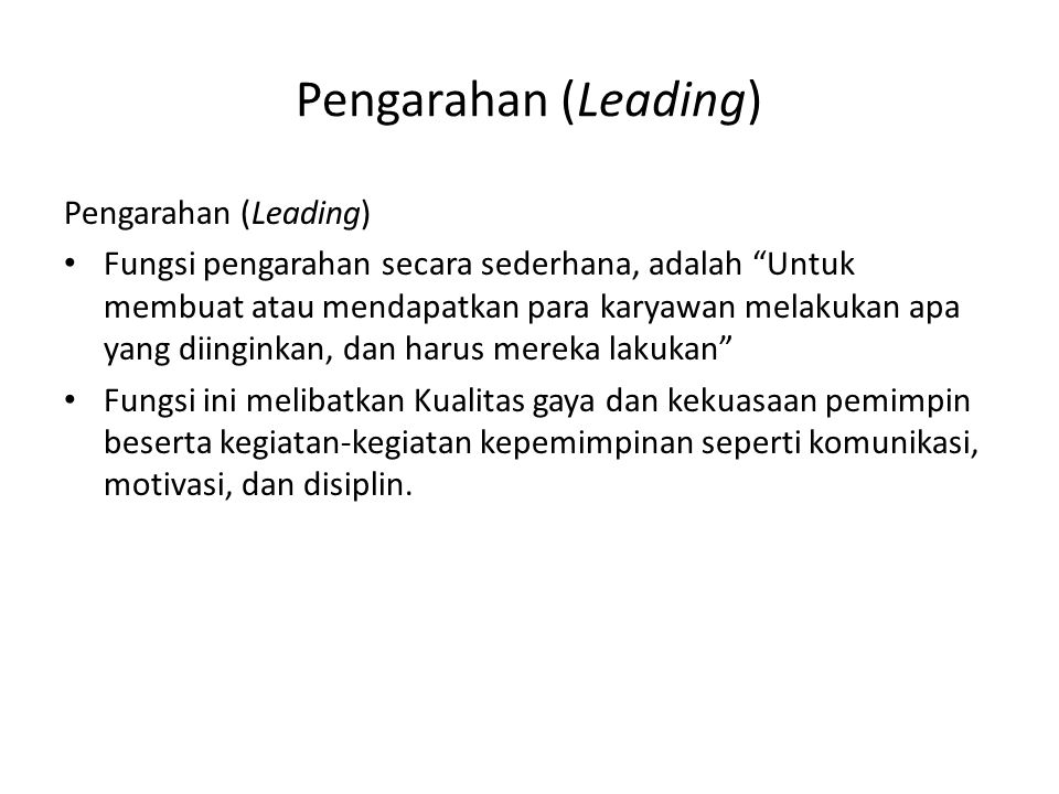 Pengarahan (Leading) Pengarahan (Leading)