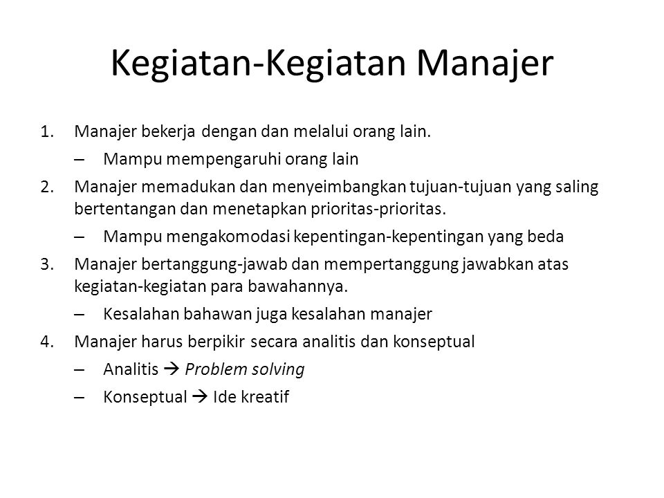 Kegiatan-Kegiatan Manajer