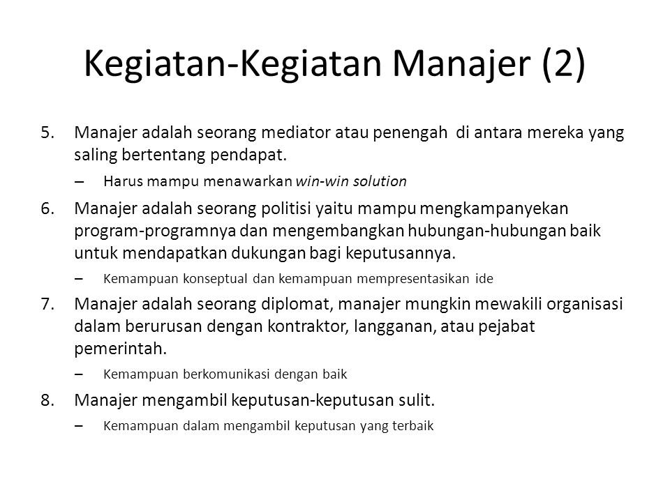 Kegiatan-Kegiatan Manajer (2)