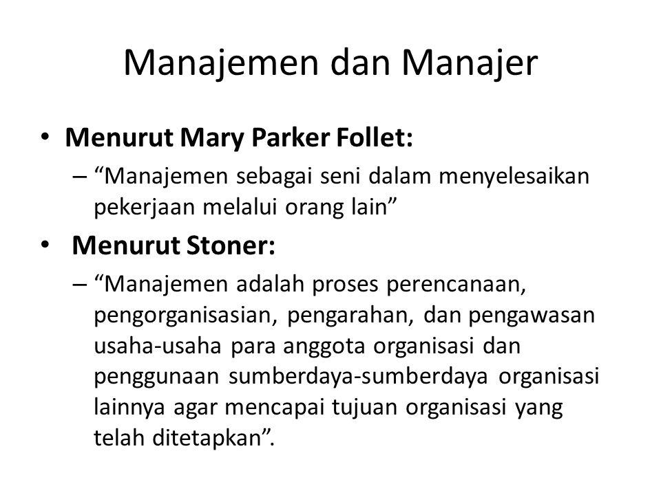 Manajemen dan Manajer Menurut Mary Parker Follet: Menurut Stoner: