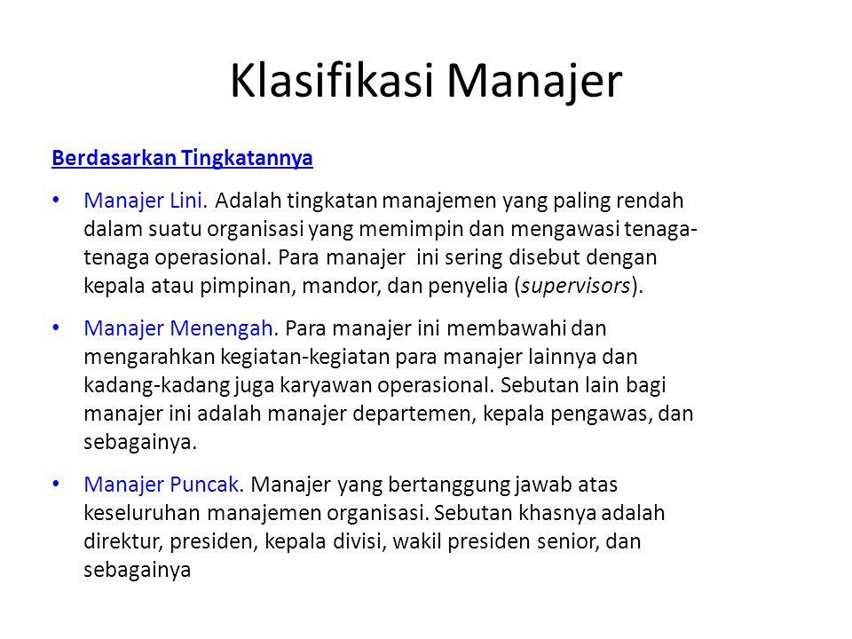 Klasifikasi Manajer Berdasarkan Tingkatannya