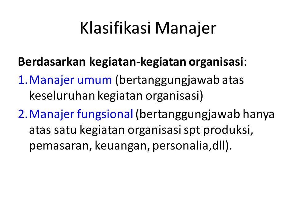Klasifikasi Manajer Berdasarkan kegiatan-kegiatan organisasi: