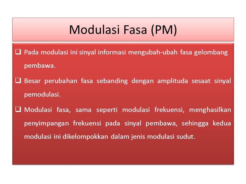 Modulasi Fasa (PM) Pada modulasi ini sinyal informasi mengubah-ubah fasa gelombang pembawa.