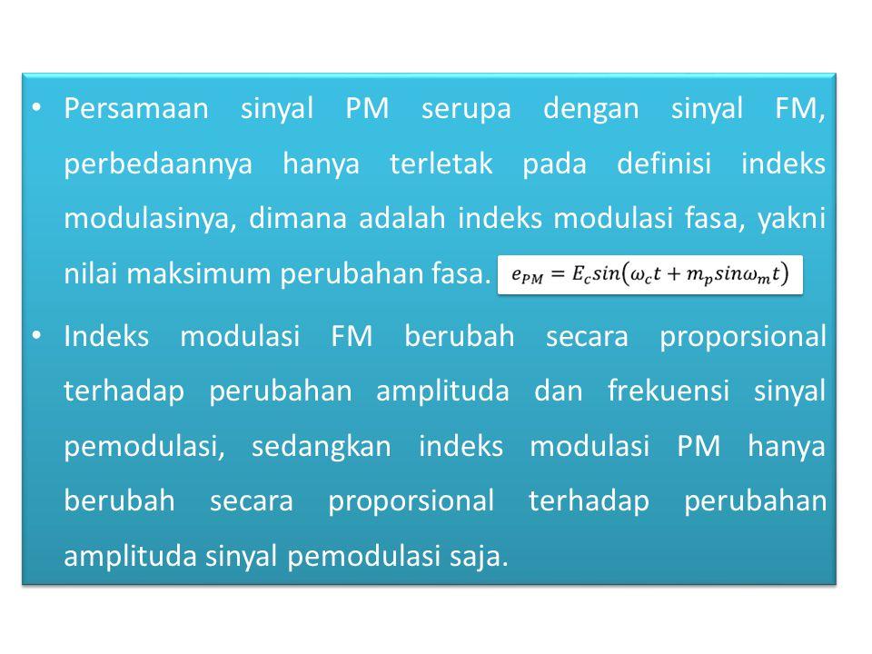 Persamaan sinyal PM serupa dengan sinyal FM, perbedaannya hanya terletak pada definisi indeks modulasinya, dimana adalah indeks modulasi fasa, yakni nilai maksimum perubahan fasa.