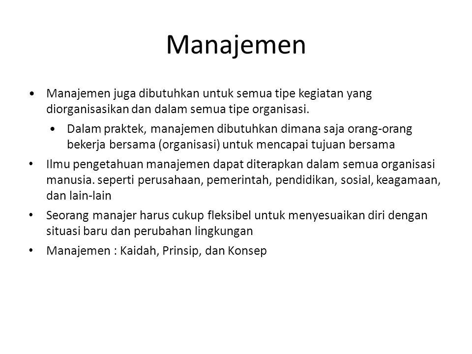 Manajemen Manajemen juga dibutuhkan untuk semua tipe kegiatan yang diorganisasikan dan dalam semua tipe organisasi.
