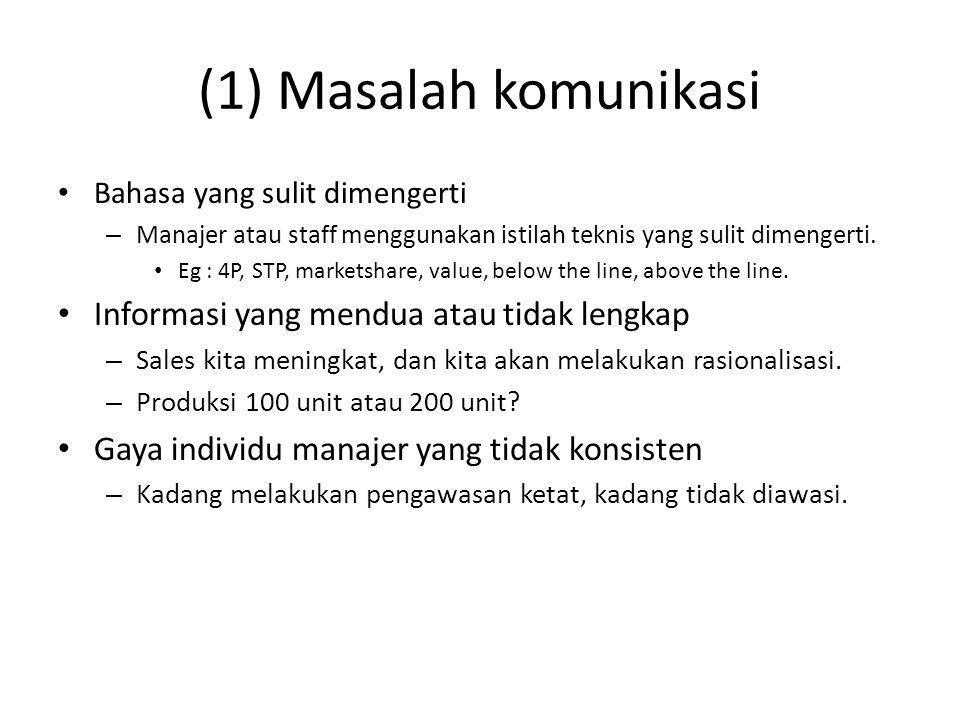 (1) Masalah komunikasi Informasi yang mendua atau tidak lengkap