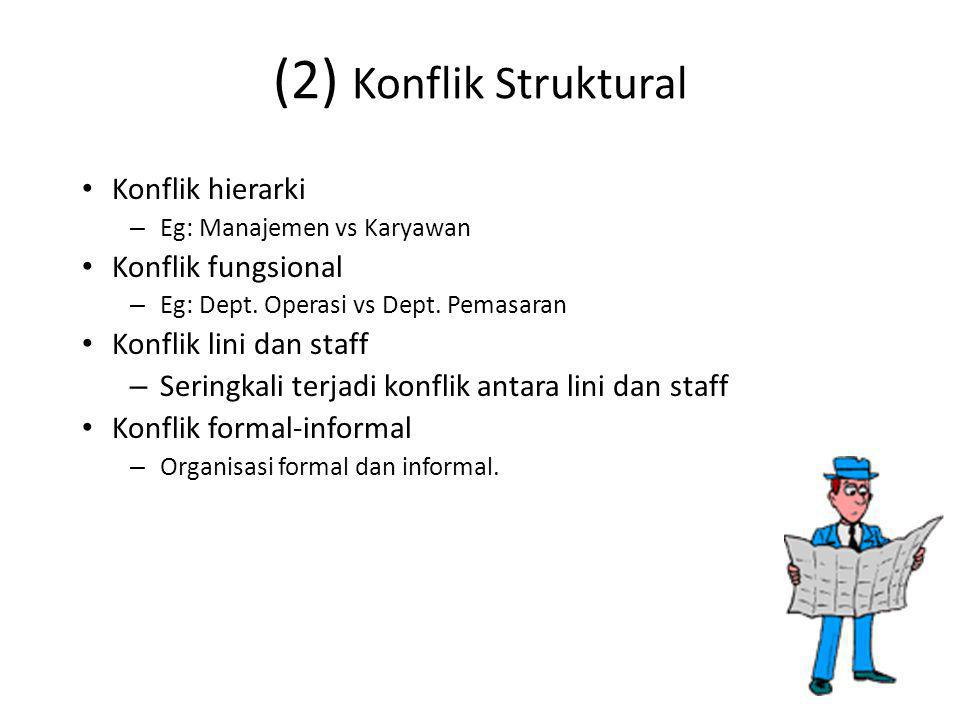 (2) Konflik Struktural Konflik hierarki Konflik fungsional