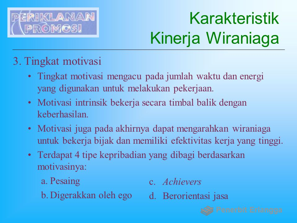 Karakteristik Kinerja Wiraniaga
